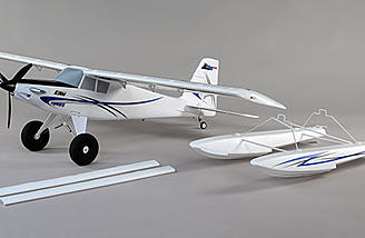 The shock-absorbing landing gear is equipped with oversized, tundra-style wheels that soak up the bumps of rough surfaces and provide excellent prop clearance. The included float set matches the trim scheme of the airplane and features dual water rudders.