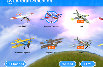 RealFlight mobile has planes you can buy.