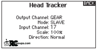 The head tracker actually has two outputs (one per servo). So you will do this for the gear channel and the aux 1 (shown in the video). Leave the input channels alone. They are set correctly.