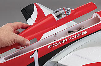 The magnetic hatch makes switching out batteries simple on the MkII Racer Red Rx-R.