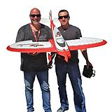 David Payne and Mirco Pecorari pulled from a wide variety full-scale and model aviation influences when designing the Commander mPd park flyer.  Here they are together with their creation.