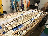 Name: 0617FAD0-7417-4A98-B72D-EA636FFD52C2.jpeg Views: 6 Size: 1,020.1 KB Description: Free at last. There's a bunch of housekeeping things to do: Free ailerons  Remove building tabs.  Check joins  Clean up glue issues  Remove glued on wax paper.