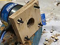 Name: IMG_3489.jpg Views: 4 Size: 554.9 KB Description: Drill mounting holes through the glued motor mount and the third plate. counter sunk the seats for the blind nuts