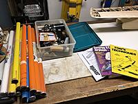 Name: F0D6DD53-9698-46FF-BBB9-0029D9F7B6F3.jpeg Views: 6 Size: 876.5 KB Description: All my tools and supplies. Ready to go. The books are great references.