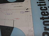 Name: IMG_4823.jpg Views: 228 Size: 179.9 KB Description: Showing further notations on my template. The ailerons will be a bit smaller, the true wingspan is noted, and I have made some referance marks at a station showing 30% & 40% of cord.