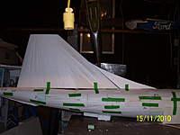 Name: Picture 989.jpg Views: 763 Size: 58.1 KB Description: Foamcore tailfin and dorsal fin.