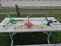 Name: DSC02108.jpg Views: 103 Size: 305.0 KB Description: Couple rcexplorer tricopter frames scaled up in different sizes and the valuehobby fpv quad frame i ordered recently(i swapped the arms it came with for dji arms)