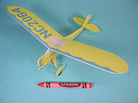 Name: monocoupe-3.jpg Views: 27 Size: 69.5 KB Description: My third Monocoupe was built in 2007.  It used a Plantraco Butterfly receiver and hinge act as well as their 4mm drive. Weight was 4.0g and span was 8 inches.  It was printed on Durobatics foam.