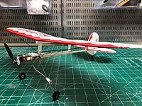Name: Monocoupe-4.jpg Views: 31 Size: 130.2 KB Description: In 2018 I made a stick version of a Monocoupe.  Wing span was 18.5 inches and weight was 22.5g with a Vapor brick and geared 7mm motor.  Construction was skeletonized foam covered with RA Microlite mylar.