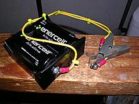 Name: Half-A_Glow_Starter.jpg Views: 60 Size: 80.0 KB Description: Homemade glow starter made from a 3-Volt D cell battery box rewired for 1.5-Volts, 16 gauge auto hook-up wire and an ancient glow head clip from who-knows-where.