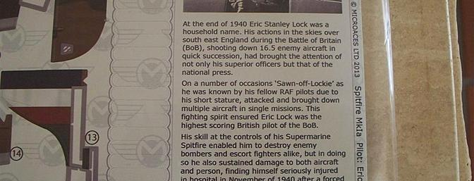 """In keeping with the deep sense of history which goes into each Microaces kit, a bio of each pilot is part of one of the sticker sheets.  """"Sawn-off-Lockie"""" was a genuine hero, one who made the ultimate sacrifice for his country.  Judge him by his size, will you?  And well you should not."""