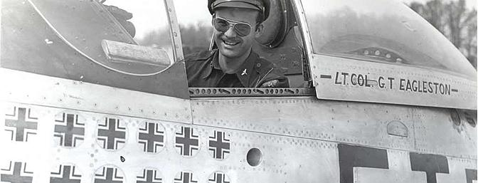 Glenn Eagleston in the cockpit of <i>Feeble Eagle</i>.  Photo:  Wikimedia Commons