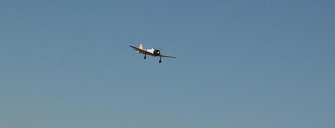 The Zero is on approach to the Coachella Valley R/C Club runway.