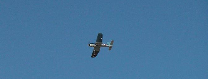 The Corsair is shown here on its maiden flight during a graceful right turn.  Overall flight characteristics are superb.