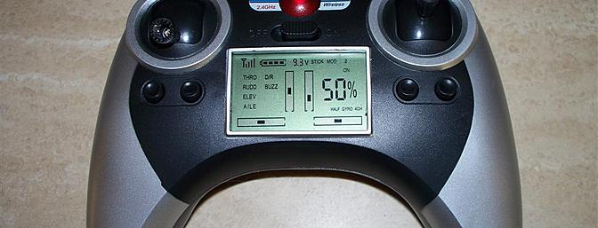 This detail shot of the transmitter shows how comprehensive the LCD display really is.  Some of the features aren't particularly useful, but the voltmeter is a wonderful touch.