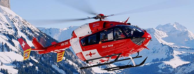This full-scale EC145 is used as an air ambulance in Switzerland. (Photo:  Wikimedia Commons)