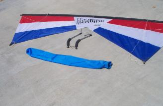 All seven feet, eight inches of the EXP are shown ready for flight with accessories less the flying lines.