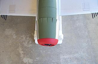 This overhead picture shows the built-in thrust angle not only at the motor but the cowl itself as well.