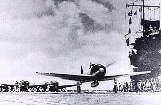 Lt. Shindo and AI-102 take off from the <i>Akagi</i> on December 7, 1941.  Photo:  Wikimedia Commons