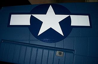 Here's the stars and bars atop the wing; note how well the material follows the panel lines and other contours.