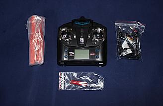 The transmitter and accessories are shown here.