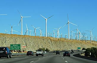 Eastbound Interstate 10 in Whitewater, California. This is the sight one sees when approaching the pass and the Coachella Valley from the west.  <i>(Photo: Wikimedia Commons)</i>