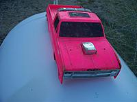 Name: clod body front.jpg Views: 72 Size: 68.9 KB Description: Front view of the Clodbuster body.  The grille and hood scoop are in good shape.