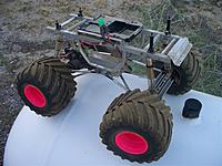 Name: clod chassis right.jpg Views: 84 Size: 113.4 KB Description: Right side view of the Clodbuster chassis.  The tires are facing the wrong way but need to be replaced anyway.