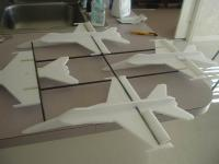 Name: Blue Angels Flyer 022.jpg Views: 477 Size: 49.0 KB Description: Adding the fuselages, one at a time..... save the lead plane for last due to the need for modification to account for a motor mount.