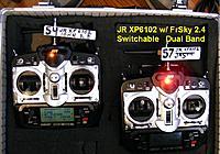 Name: DSCF6147cl.jpg Views: 263 Size: 103.3 KB Description: 2 JR XP6102's with 2.4 Ghz FrSky V8TH MOD Switchable 72 Mhz to 2.4 Ghz