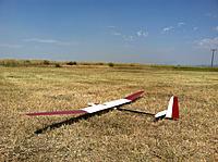"Name: image.jpg Views: 869 Size: 302.4 KB Description: Red Merle #3 same fuselage, new 140"" wing.  67oz."
