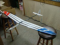 Name: DSCF4241.jpg Views: 1108 Size: 186.4 KB Description: Finished airframe at 182g including all mounted surfaces and canopy.