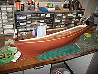 Name: IMG_3171.jpg Views: 177 Size: 301.6 KB Description: Hull will be black above the stripe, Hunter green below to the waterline.