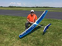 This is me with my Airtronics Sagitta 900.  Its been a great flyer for many years.  I loved building it and it did great at the NOS NATS!  Perry Bell photo.