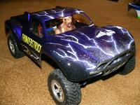 """Name: ThunderstruckSlash.jpg Views: 138 Size: 94.2 KB Description: My son's """"Thunderstruck"""" Traxxas Slash body.  Slashes are great ways to get into R/C racing.  You can be competitive for $250!"""