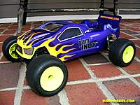 """Name: BulldogScottFinished 011R.jpg Views: 74 Size: 113.3 KB Description: My latest RC10T4 body.  The """"BULLDOG"""" from Pro-line.  Airbrushed with Faskolor paints.  Carefully did the flames with liquid mask."""