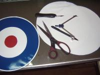Name: Makeing Roundels 005.jpg Views: 213 Size: 86.9 KB Description: I tried to use a blade in the compass to cut the material with, but the blade wouldnt follow straight. It got zig zaged.