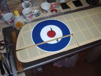 Name: Makeing Roundels 004.jpg Views: 284 Size: 48.4 KB Description: I know you know this but make sure the ailerons are straight with the wing when you cut down the hinge line