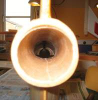 Name: 20100426155931.jpg Views: 278 Size: 47.1 KB Description: the exit cone and exit tube fitted and the fiber glass tube all connected.