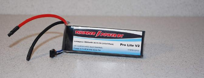 The 2600 MAh 3s pack provided plenty of power storage for 6 minute flights.
