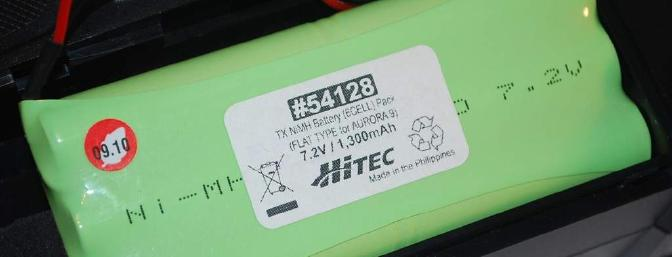 The six cell NiMh 1300mAh pack.  Since the Aurora software supports the use of a 2s LiPo you can install one if desired.