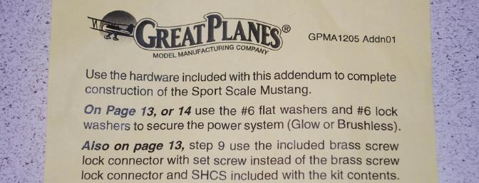 Included in the hardware was a manual addendum.