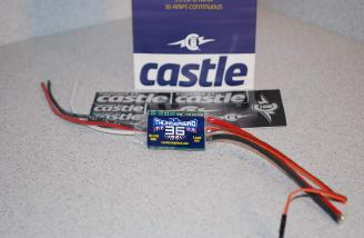 The Castle Creations Thunderbird 36 amp ESC.  This has a built-in 3-amp BEC and is perfect for the 3 digital servos in the BD-5 pusher.