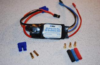 The 40 amp Lite Pro ESC included a switch mode BEC providing power for all 4 servos and receiver.