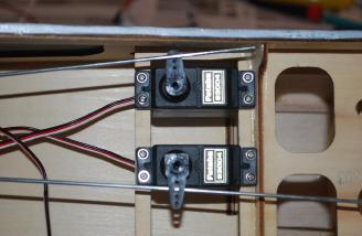 Standard servo installation in the laser cut servo tray.