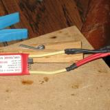 The Jeti 20 amp ESC with two Micro Deans installed - one for each motor.