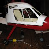 Here you see I replaced the stock nose gear wire with longer stock that allowed me to use a <i>nose height</i> setup that helps this high thrust line aircraft lift off.