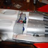 The motor wires and the stabilator servo wire extensions. All will be covered by a foam insert.