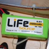 I used the Hobbico LiFe Source battery to power the receiver and servos for this project.  The LiFe source packs are working wonderfully for me.
