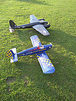 Name: Mossie and Turbulent.jpg Views: 13 Size: 237.6 KB Description: A lovely calm sunny afternoon.  No-one at the flying field.  2 of my favorite Ivan planes and plenty of time and space to practrice landings.  Super day .